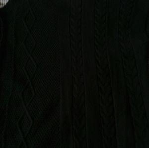 White Mark Sweaters - Black fringe chunky knit poncho